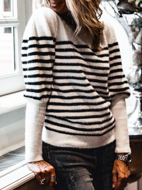 Stripe Knitted Casual Sweater