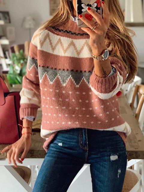 Geometric Long Sleeve Sweater