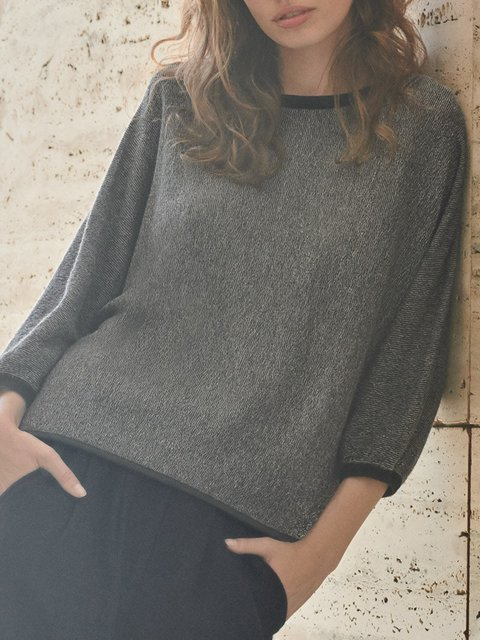 Gray Paneled 3/4 Sleeve Crew Neck Shirts & Tops