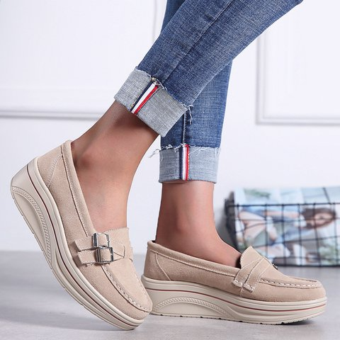 Platform Buckle Round Toe Plus Size Loafers Womens Shoes