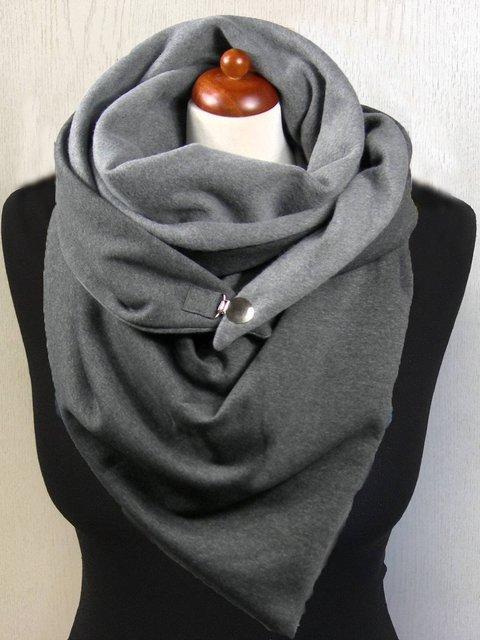 Grey Casual Solid Cotton Scarves
