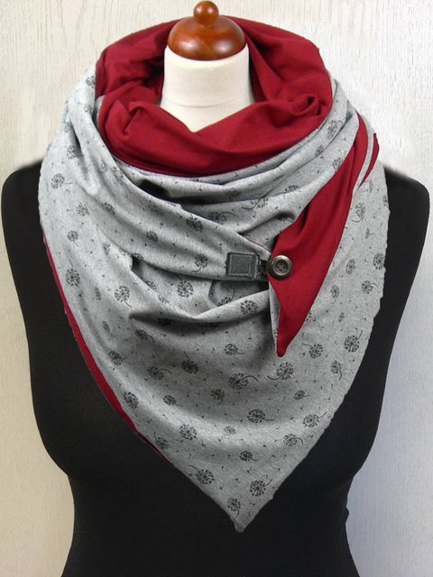 Grey Casual Printed Floral Scarves