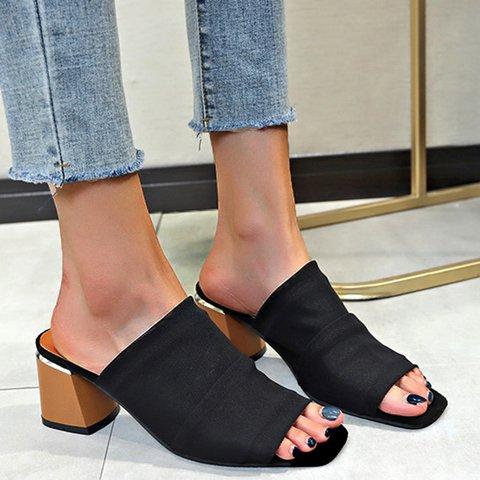 Peep Toe Chunky Heel Slide Sandals Casual Slippers