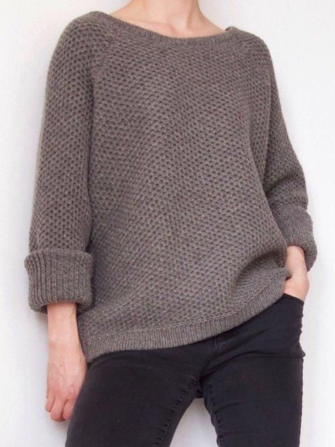 Khaki Round Neck Plain Casual Sweater