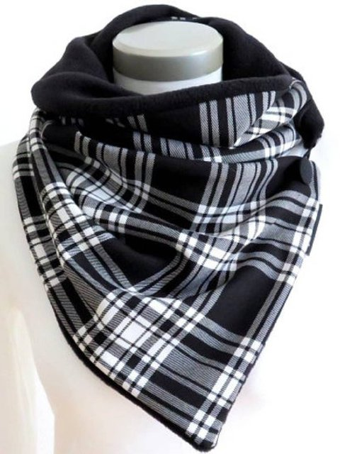 White-Black Casual Paneled Checkered/plaid Cotton-Blend Scarves & Shawls