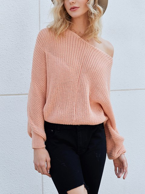 Pink Long Sleeve Sexy Sweater