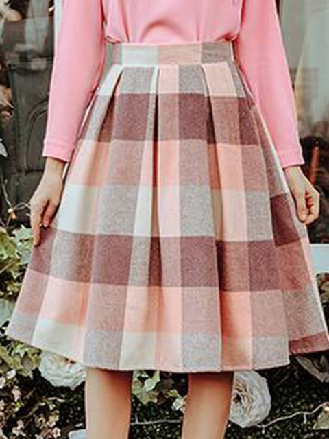 Pink Cotton-Blend Vintage Swing Paneled Skirts