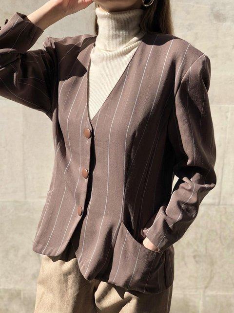 Vintage Wool Blend Striped Blazer
