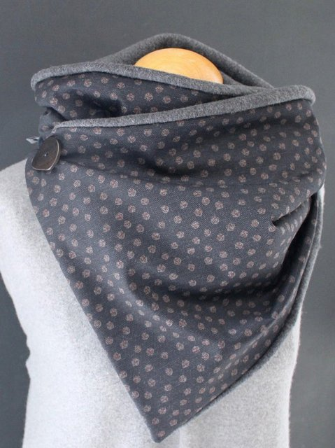 Gray Turtleneck Casual Polka Dots Scarves & Shawls