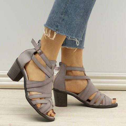 Women Peep Toe Zipper Chunky Heel Sandals With Adjustable Buckle