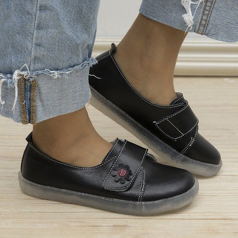 All Season Magic Tape Pu Flats Comfortable Womens Flat Shoes