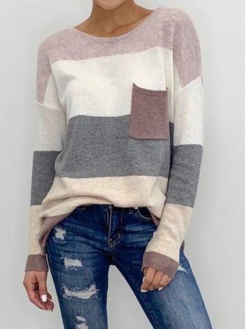 Casual Color-Block Shirts & Tops