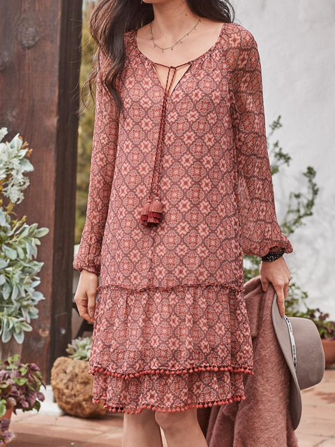 Red Cotton Printed V Neck Holiday Dresses