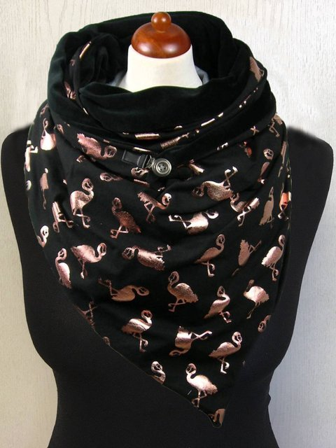 Black Animal Casual Printed Flamingo Scarves
