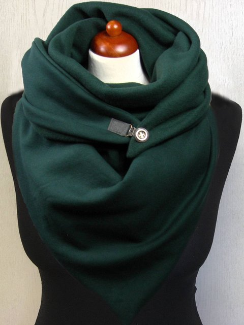 Green Solid Cotton Casual Scarves