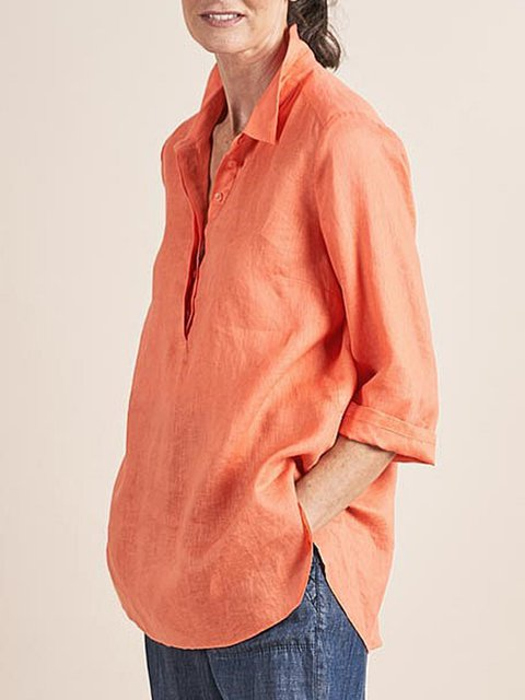 Orange Solid Blouses Long Sleeve Shirts