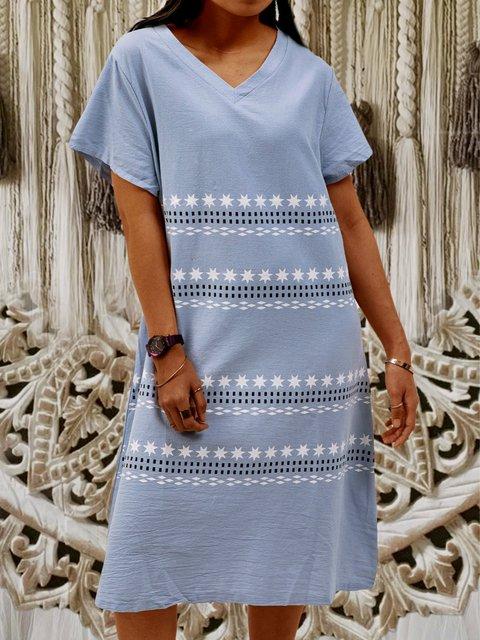 Cotton Short Sleeve Boho Striped Dresses