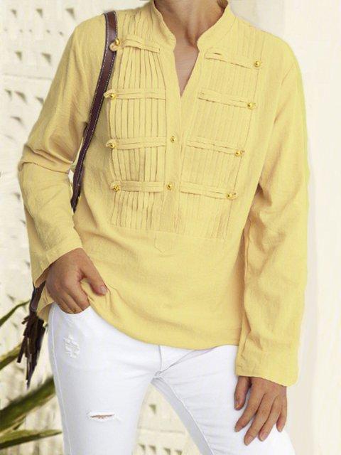 V Neck Plain Plain Buttoned Shirts & Tops