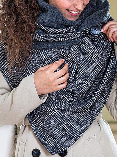 White-Black Casual Cotton-Blend Scarves & Shawls