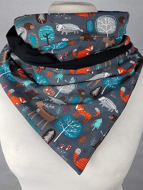 Gray Animal Printed Casual Scarves & Shawls
