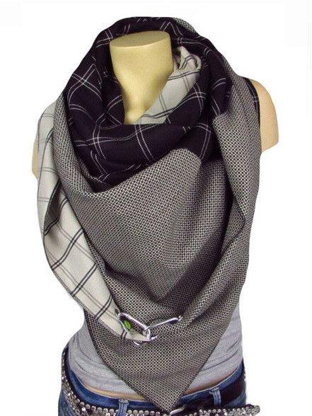 Vintage Checkered/plaid Cotton Scarves & Shawls
