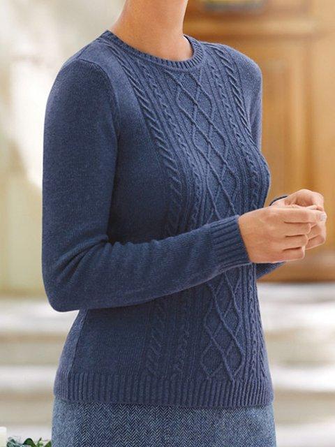 Casual Round Neck Jacquard Sweater
