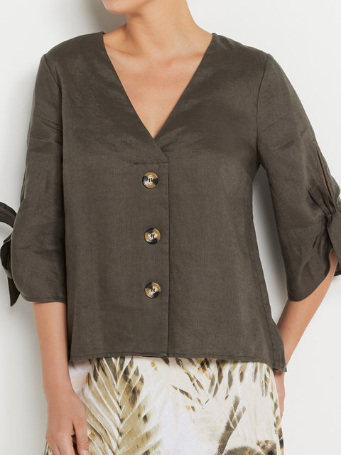 Solid Blouses Half Sleeve V Neck Shirts