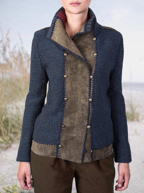 Long Sleeve Shift Stand Collar Plain Sweater