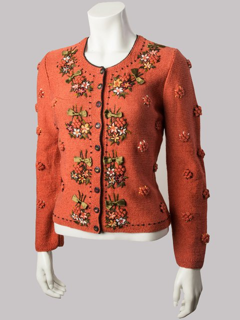 Knitted Cotton-Blend Floral Long Sleeve Sweater