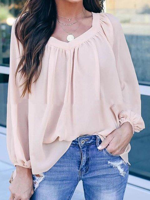 Long Sleeve Back Bow Loose Chiffon  Plain Holiday Shirts & Tops