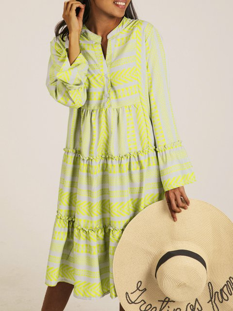 Green Long Sleeve V Neck Holiday Dresses