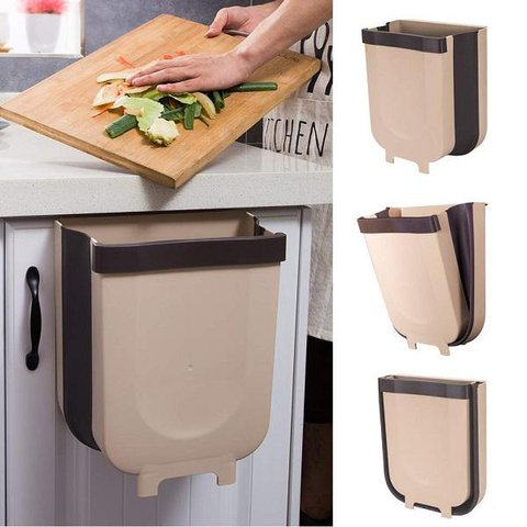 Hanging Trash Can for Kitchen Cabinet Door, Wall Mounted Folding Waste Bin