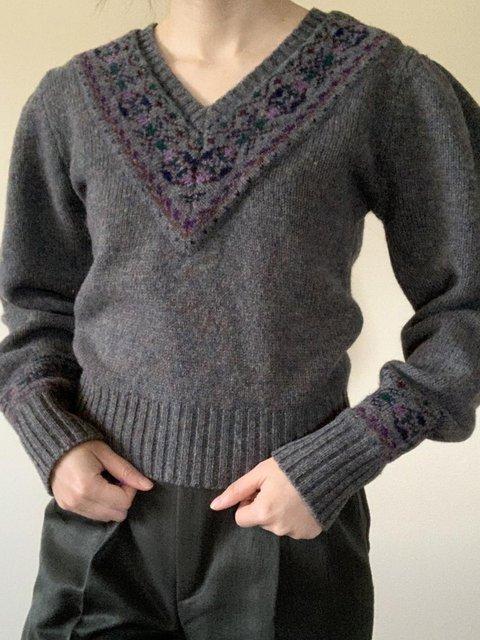 Vintage Casual V-neck Woolen Sweater