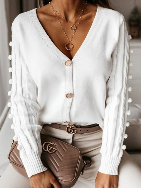 Women V-Neck Buttoned Solid Sweater Cardigans