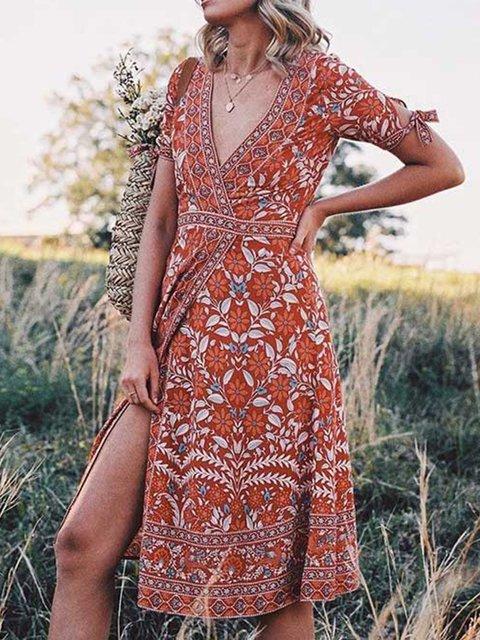 Floral Short Sleeve Boho Dresses