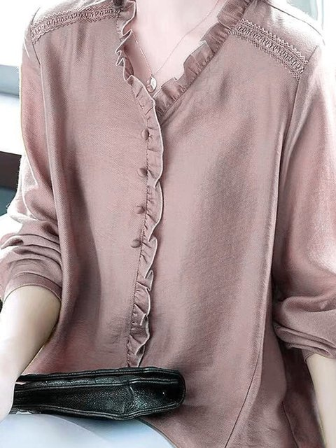 Long Sleeve Ruffled Crew Neck Plain Shirts