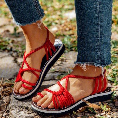 2018 Summer Handmade Breathable Bandage Beach Flat Sandals