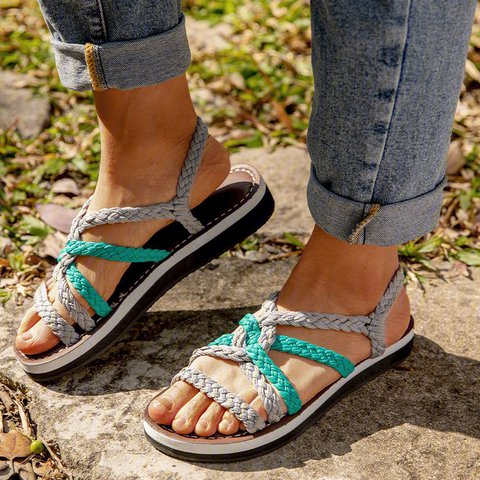 Womens Handmade Breathable Bandage Beach Flat Sandals