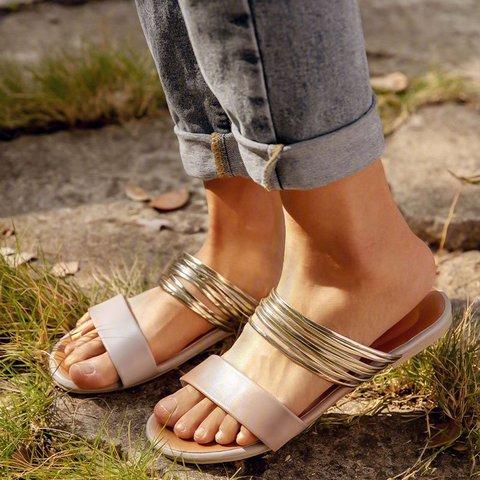 Slip-On Flat Open Toe Summer Slide Sandals Plus Sizes