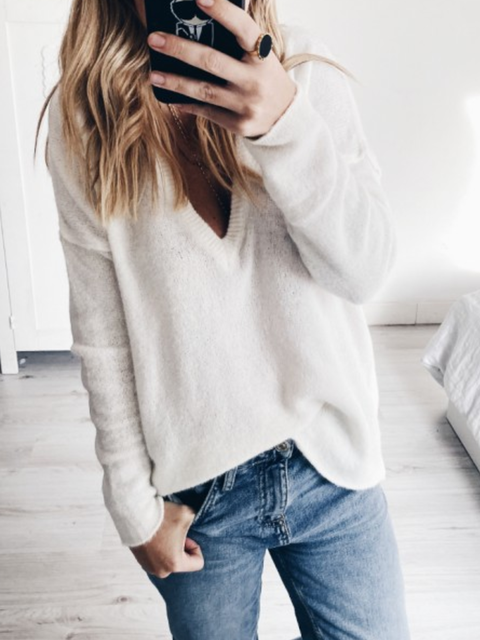 Solid Cotton-Blend Long Sleeve Casual Sweater