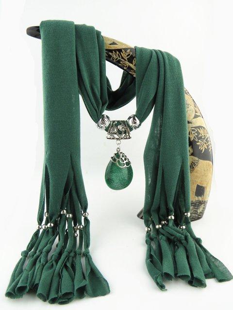 Vintage Casual Tassel Bead Necklace Water Drop Pendant Scarf
