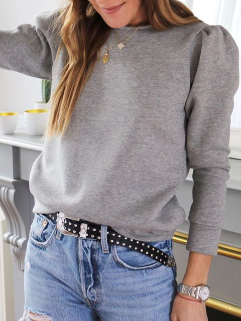 Gray Round Neck Long Sleeve Cotton-Blend Solid Tops