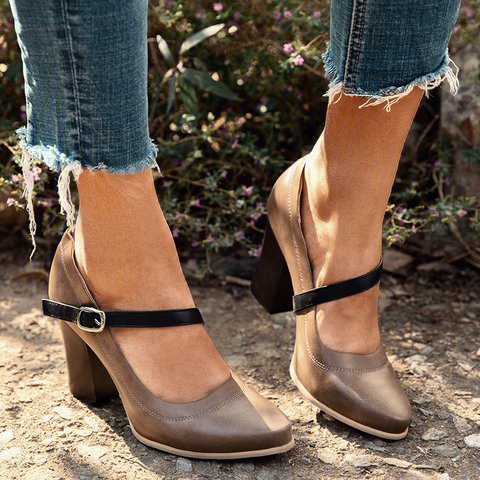 Khaki Chunky Heel All Season Faux Leather Other Shoes