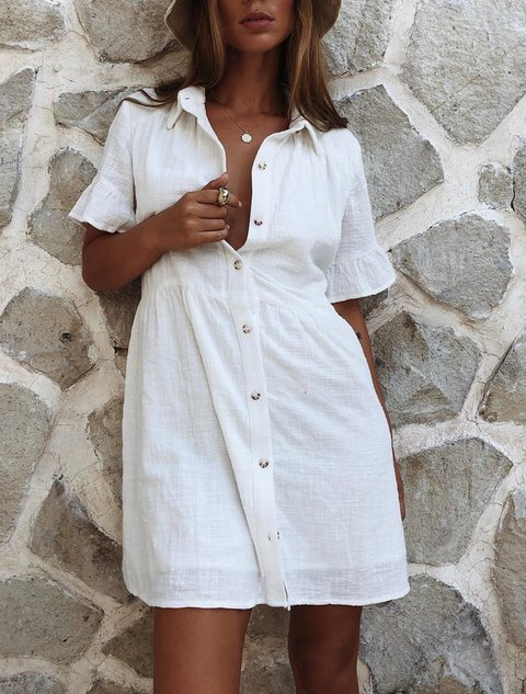 Plus Size Casual Short Sleeve Solid Dresses
