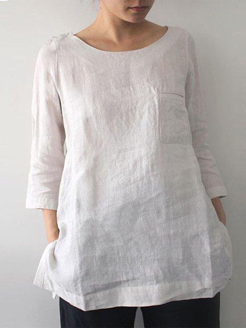 3/4 Sleeve Plain Basic Linen Tops