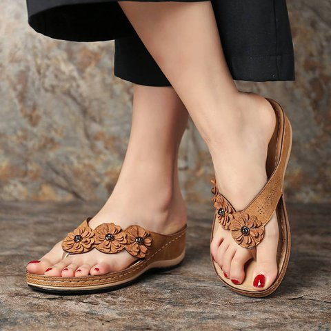 Plus Size Casual Comfortable Flower Slippers