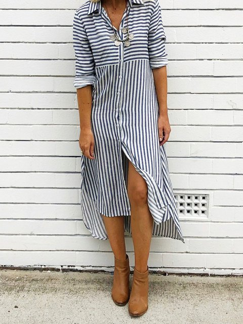 Shirt Collar Stripe Women Dresses Casual Buttoned Dresses