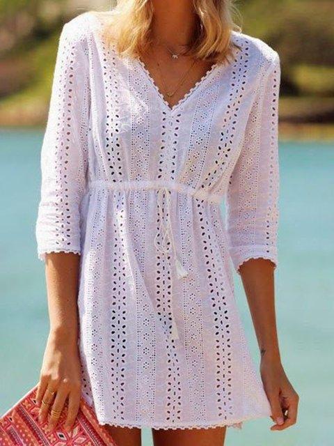 V Neck White Women Dresses Linen Solid Dresses