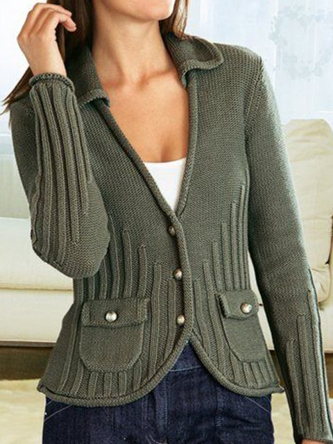 Solid Pockets Knitted Cardigan Shawl Collar Sweater