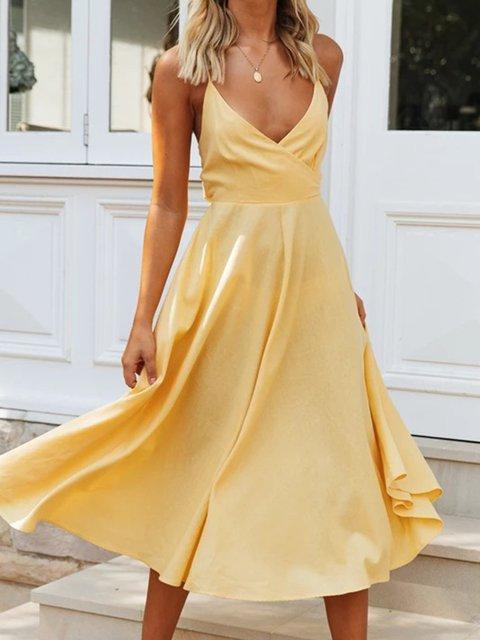 V-neck Halter Dress Sexy Big Swing Dress